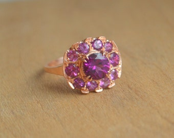 14 Kt Rose Gold Cocktail Ring with Purple (Grape) Garnet