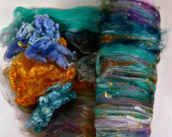 Under the Sea Wild Card Bling Batt for spinning and felting (3.6 ounces), batt, art batt