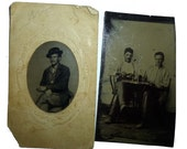 19th Century Men Drinking, Smoking, Playing Cards. 2 Antique Tin Type Photographs. Tintype of Man With Bad Eye.Circa 1880s. Unusual Images.