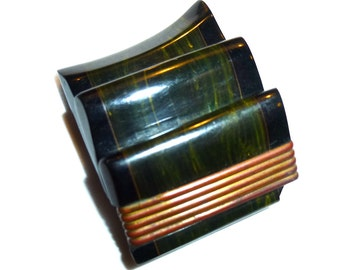 Carved Bakelite Dress Clip. Two Tone Laminated Ribbon Clip. 1940s USA