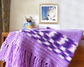 Vintage afghan blanket, afghan, Hippie bedding crochet blanket, Bohemian home boho afghan, Lavender purple, Bohemian bedding, Boho decor