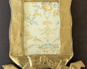 9 x 10 Brass Frame, Vintage, 5 x 7 Photo, Cottage Chic, Housewarming Find, Brass Ribbon Frame, Heavy Brass Frame, French Country, Home Decor