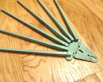 Vintage Towel Bar Swing Arm Rack Green Wooden Primitive Jadeite Depression Kitchen 6 arms