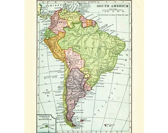 South America printable download digital vintage map from 1915.  Peru, Chile, Argentina, Colombia, Venezuela .  Rich colors.