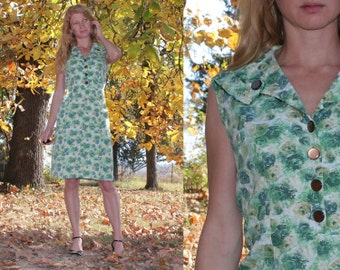 Large L Vintage 50s Day Dress Sailor Collar Womens Retro Handmade Green Floral Print Cotton Unique Pockets Midi