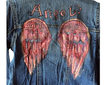 Tiny Angel Custom Handpainted Denim Jacket