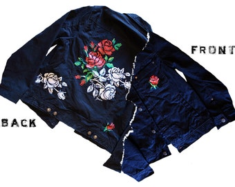 Red and White Roses Custom Hand Painted Denim Jacket