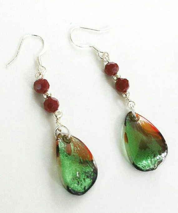Fused glass earrings christmas red by soulfulleeyours