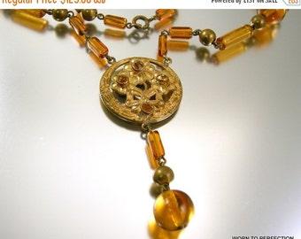 Love Yourself Sale Art Deco Czech Glass Necklace Topaz Colored