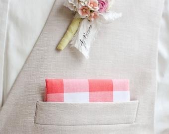 "Pocket Square, Pocket Squares, Handkerchief, Mens Pocket Square, Boys Pocket Square, Wedding Pocket Squares - 1"" Coral Gingham Check"