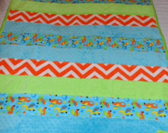 Airplane Chevron Turquoise, Orange, Yellow and Lime Green Cuddle Strip Baby Crib Quilt