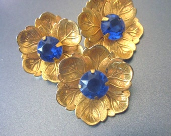 Vintage Blue Rhinestone Button Lot Gold Leaves Sewing Supply Coat Buttons
