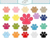 ON SALE paws clip art, paws with stitches clip art, stitch paw clip art, color paw clip art, animal paw clip art, instant download clip art