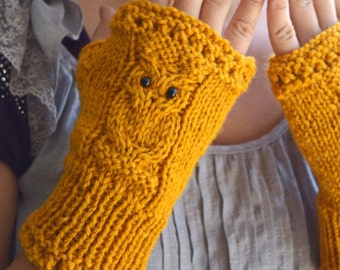 Owl fingerless mittens knitted arm warmers yellow gift for her Christmas gift