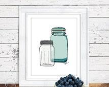 Mason Jars Illustration - 8x10 Kitchen Wall Art Instant Printable