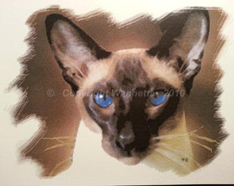 Siamese Cards 5x6.5 in Set of 4 Same Image with Envelopes, Large Blank, Seal Point, Oriental, Cat