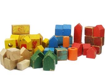 Wooden Building Blocks Collection of 44 Vintage Wood Blocks