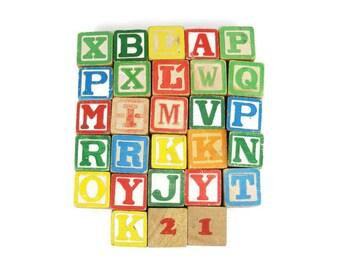 Vintage Wooden Alphabet Blocks collection of 28 blocks