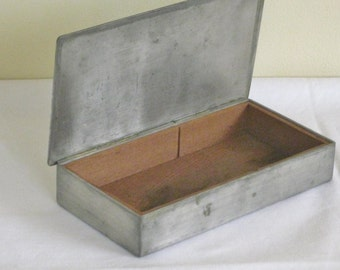 Stieff Pewter Hinged Box, Vintage Wood Lined Metal Container, Old Rectangular Cigarette Box, Vintage Office Desk Storage