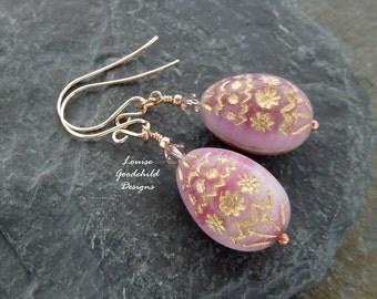 Easter Egg earrings, pink easter egg earrings, easter earrings, pink earrings, pink and gold, bronze earrings
