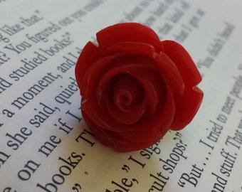 Resin Ring, Red Rose on Gunmetal Adjustable Ring Base