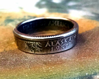 Alaska Quarter Ring - Coin Ring 2008 Quarter Dollar Coin Ring - Size: 7 1/2