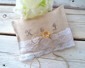 Ringbearer pillow . personalized ring pillow . white lace and linen ring pillow