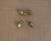 5mm Antique Brass End Caps with Hook and Loop Clasp, Cord Ends with Clasp, Kumihimo Cord Ends