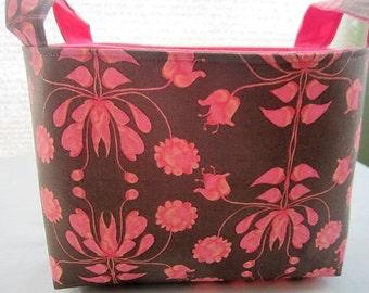 Fabric Organizer Basket Storage Container Bin Bucket - Brown with Pink Flowers