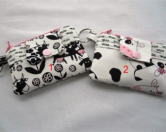 Zippy Zipper Wallet Pouch Key Moo!! Cows or Cows with a Bow Card holder -