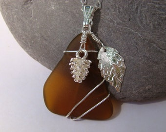 Pine Cone Necklace - Amber Sea Glass Pendant Necklace - Fall Necklace