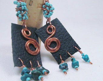 Leather Turquoise Earrings Copper Earrings Leather Earrings Sterling Silver Ear Wires