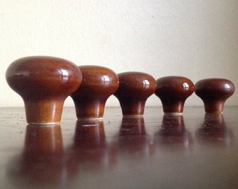 Vintage Round Ceramic Brown Furniture Knobs.