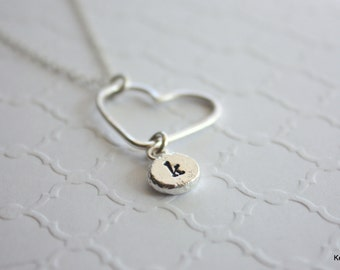 Initial Necklace with Heart, Silver Personalized Jewelry, Hand Stamped