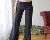 organic cotton lounge pant with foldover waist and wide leg - HESTER - sleepwear and lingerie range - made to order