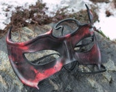 Black and Red Horned Leather Mask