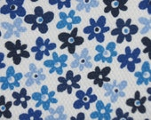 Kids Cotton Knit Fabric - Blue White Floral Ditsy Flower Textured Cotton Knit Fabric -  cotton knit  by the yard - The Fabric Zoo