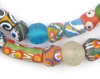 45 Fair Trade Beads - Ghanaian Glass Beads - African Beads - Wholesale Recycled Beads - Jewelry Supplies - Made in Ghana (KRB-MIX-MIX-110)