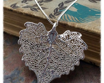 1 Real Silver Dipped Cottonwood Leaf Pendant Necklace