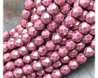 Satin Rose Faceted Firepolish 6mm Czech Glass Beads