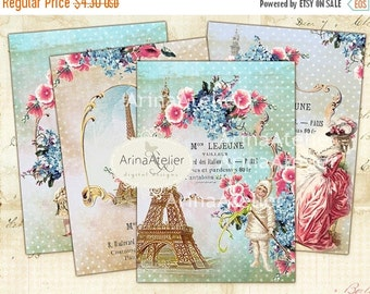 30% OFF SALE Shabby Chic Paris ATC Cards - Digital Tags - Digital Download Sheet - Shabby chic cards - Paris Digital Images