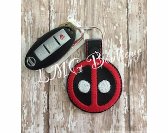 Dead Pool Key chain, Super hero Fob Embroidered Snap Tab, Dead Pool Key Fob, Embroidered Snap Tab