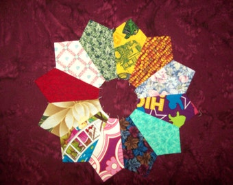 Dresden Plates -'scrappy' - Set of 12 to finish into quilt blocks