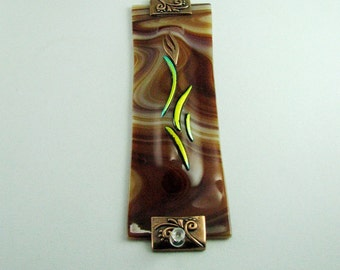 Earthy and Warm Brown Fused Glass Mezuzah Case