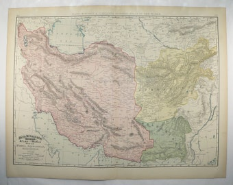 1898 Large Map of Middle East, Persia Map Afghanistan, Iran Map Pakistan, Middle Eastern Decor, Persian Gulf Vintage Map, Gift for Traveler