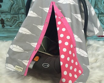 Car seat canopy Pink and Gray / feather  / Car seat cover / car seat canopy / carseat cover / carseat canopy / nursing cover