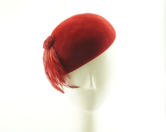 Pillbox Hat for Women, Wedding Hat, Tea Party Hat, Womens Hat, Mother of the Bride Hat, Ladies Hat, Felt Hat, Red Fascinator Hat, Dress Hat