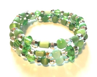 Bracelet - Memory Bracelet - Greens with Silver - One Size Fits All - Wrap - Boho