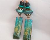 Teal Polymer Clay Earrings, Long Green Earrings, Impressionist Earrings, Unique Artisan Earrings