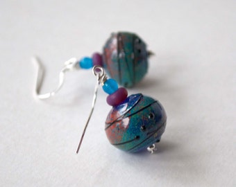 Peacock Teal Earrings, Hollow Blown Glass Earrings, Lampwork Glass Earrings, Light Weight Earrings, Unique Abstract Earrings